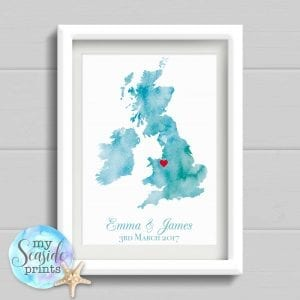 Watercolour Style Personalised Map Print with location