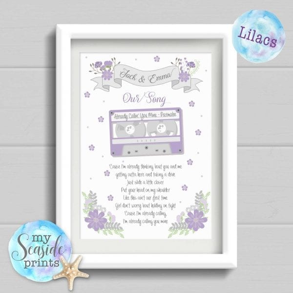 Our Song personalised print lilac versions
