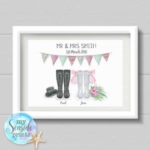 Personalised Wedding Present - Wellington Boots with bunting