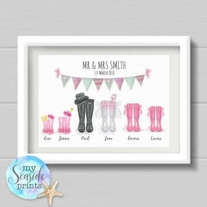 Personalised Wedding Gift with bride groom and bridesmaids welly boots