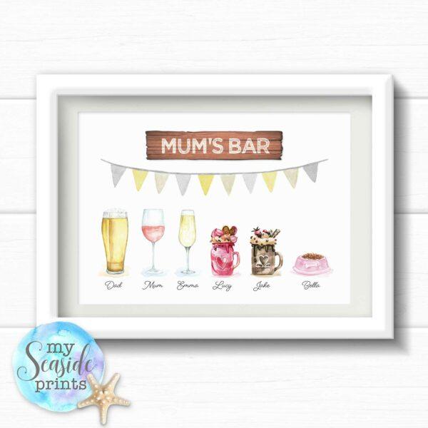 Drinks family personalised print
