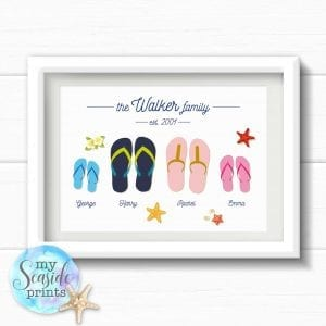 9c4fa7b147cfdb Personalised Flip Flop Family Print for beach loving family - My Seaside  Prints