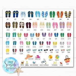f2d4b81fc contact sheet for flip flip choices for family flip flops personalised print