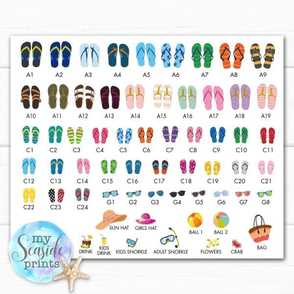 contact sheet for flip flip choices for family flip flops personalised print