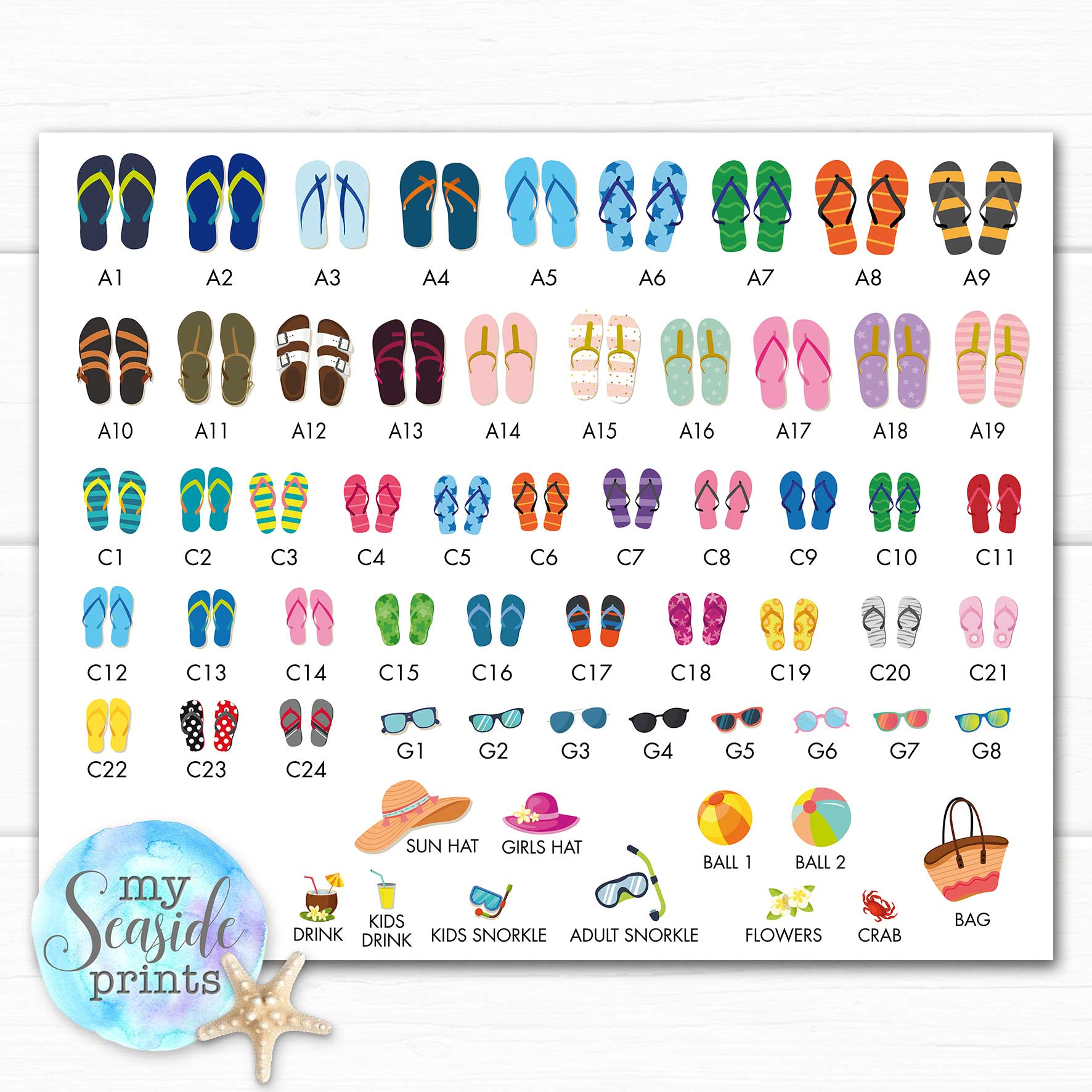 05a5db27e96ee contact sheet for flip flip choices for family flip flops personalised print