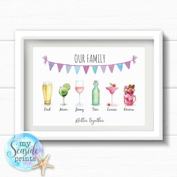 Personalised Father's Day Print - Family drinks print