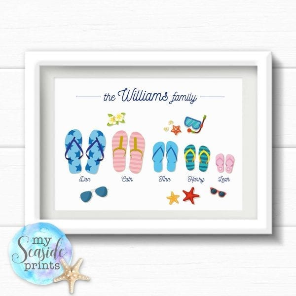 Personalised Flip Flop Family Print for beach loving family