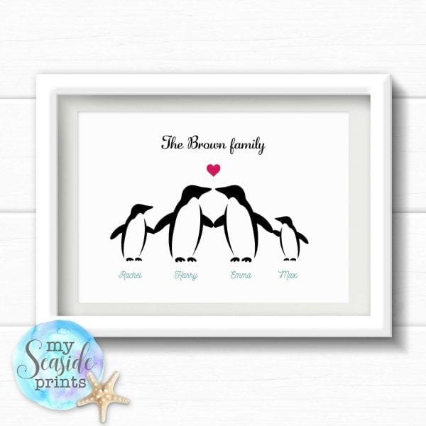 Personalised Family Print - Penguin family
