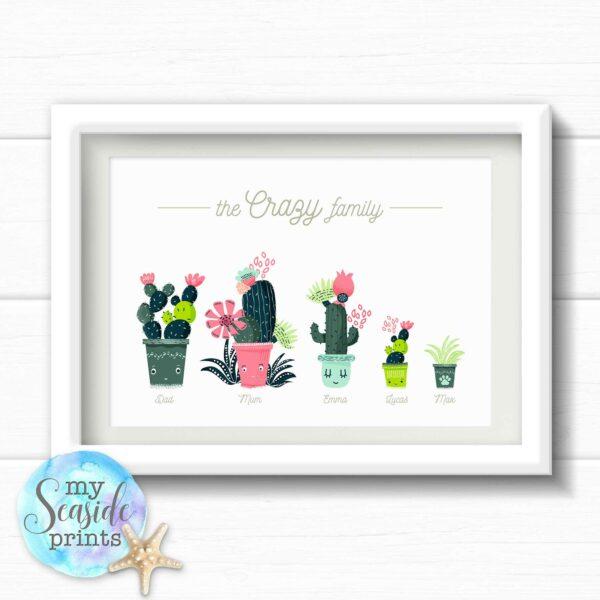 Cactus Family Personalised Print