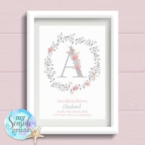 Personalised Print - Girls Christening Gift with grey Flower Wreath and initial