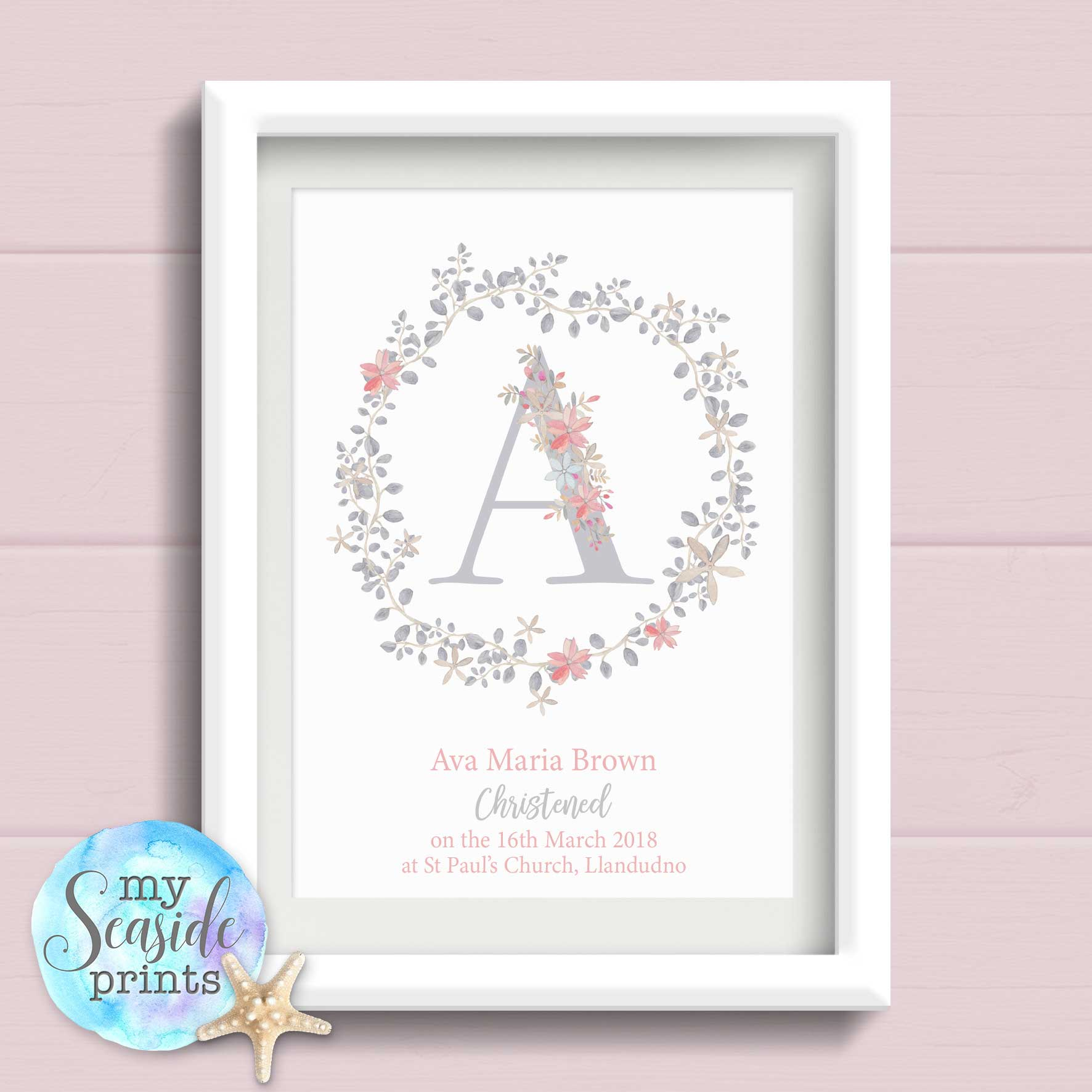 Girl Pink Flowers /& Check Personalised Christening Baptism Bunting