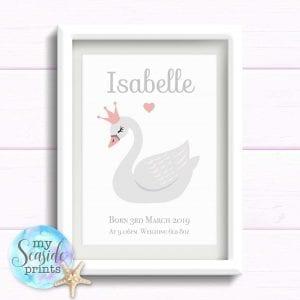 Personalised Girls Nursery Print or New Baby Print - Swan princess