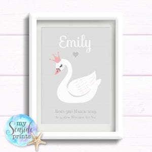 swan print for newborn baby girl