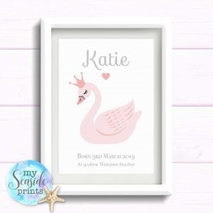 swan print for newborn baby girl