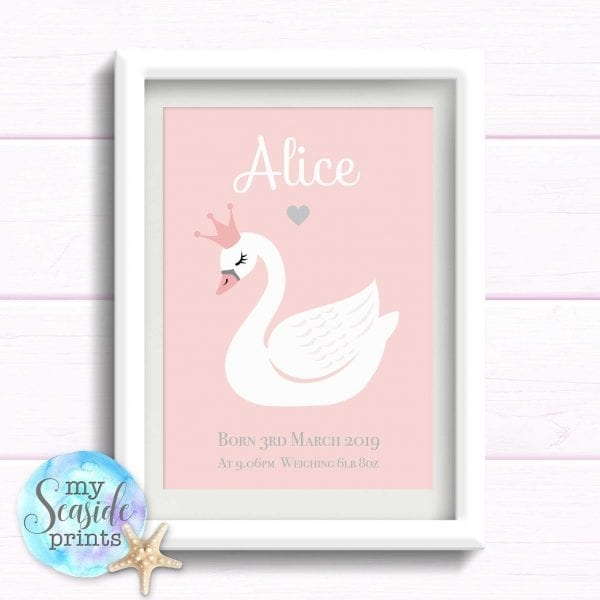 Personalised Girls Nursery Print or New Baby Print - Swan princess
