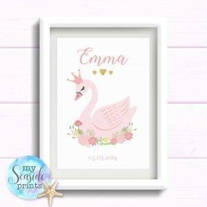 pink swan print for girls bedroom