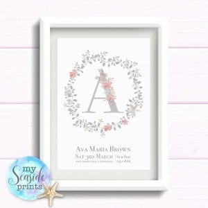 Personalised Girls Nursery Art Print or New Baby Print - Flower wreath with initial and flowers
