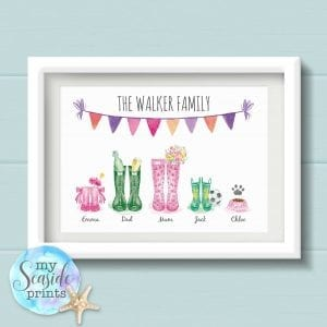 Personalised Father's Day Print – Family Wellington Boot Print