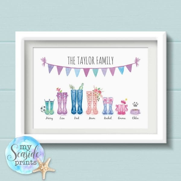 Personalised Family Print - Welly Boot family print
