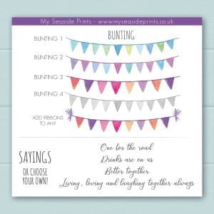 Bunting options for family drinks and welly boots personalised prints