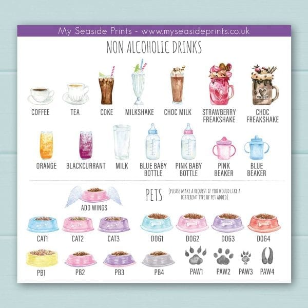 Non-alcoholic options for family drinks and welly boots personalised prints