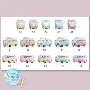 campervan colour options for wedding personalised print for gifts