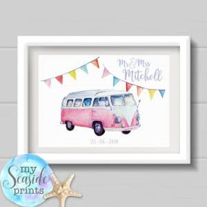 campervan wedding print personalised wedding gift