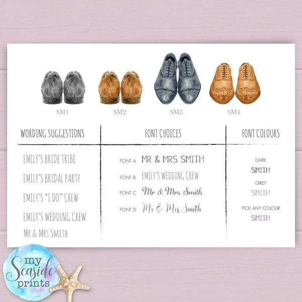 Personalised wedding shoes print mens shoes options