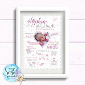 New Baby Gift Personalised Print - Birth Details with photo