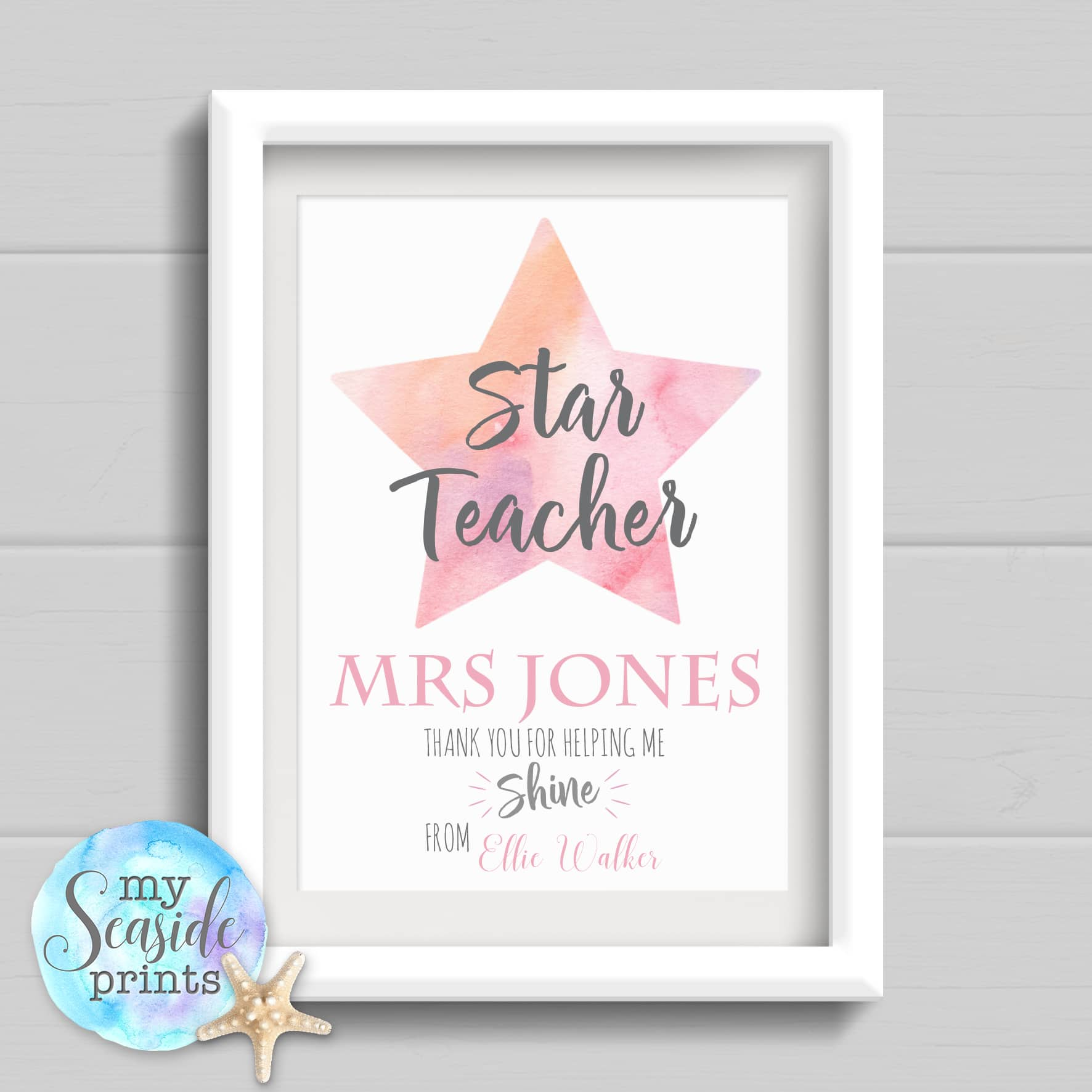 Personalised Teachers Thank You Print - Star teacher