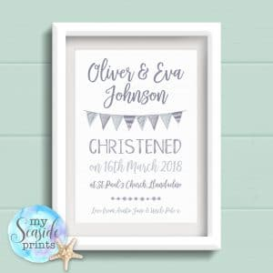 Personalised Baby Boys Typographic Christening Print with Bunting