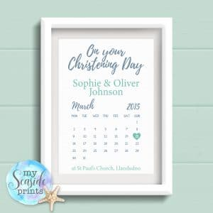 Personalised Joint Christening Print with Calendar date