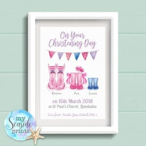 Joint Christening personalised print with welly boots flowers rainbow bunting