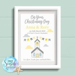 Personalised Joint Christening Print with Church