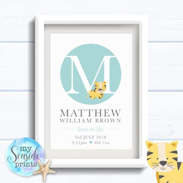 Personalised Baby Boy Print or New Baby Print - Initial spot with tiger