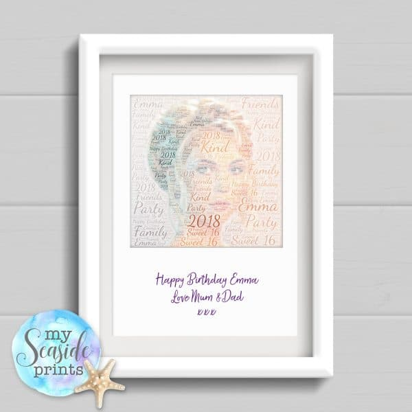 Personalised Print - Word art photo with message in polaroid style