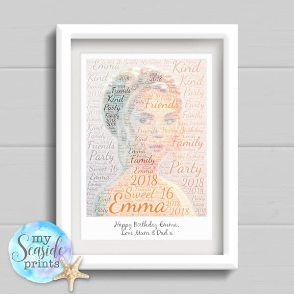 Personalised Print - Word art photo with message