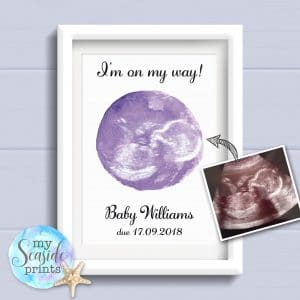 Personalised Baby Scan Print - I'm on my way! baby shower gift