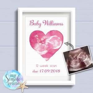 Personalised Baby Scan Keepsake Print - 12 Week Scan in Heart