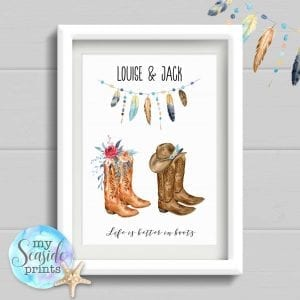 cowboy boots personalised print for couple. life is better in boots
