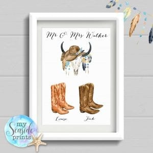 cowboy boots personalised print for couple. mr and mrs with skull