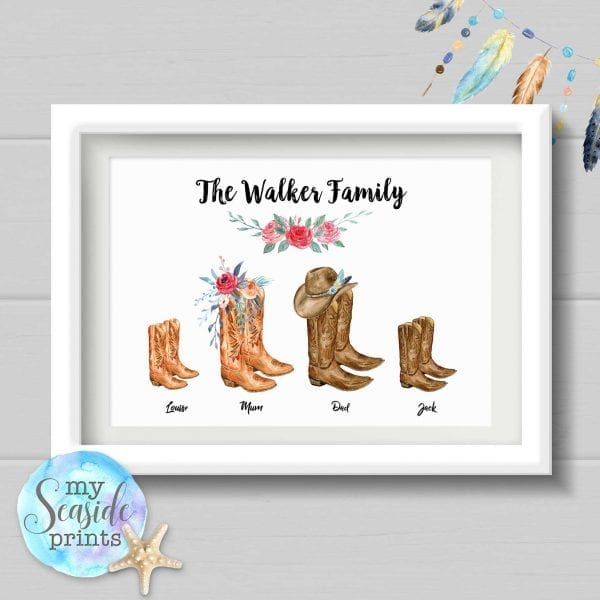 Family cowboy boots personalised print for country music lovers