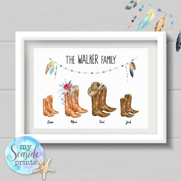 Family cowboy boots personalised print for country music lovers with feathers cowboy hat and beading