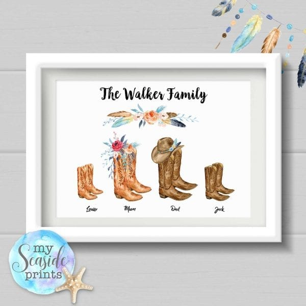 Family cowboy boots personalised print for country music lovers with feathers cowboy hat and flowers