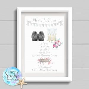 Anniversary Print days minutes and hours countdown with wedding shoes