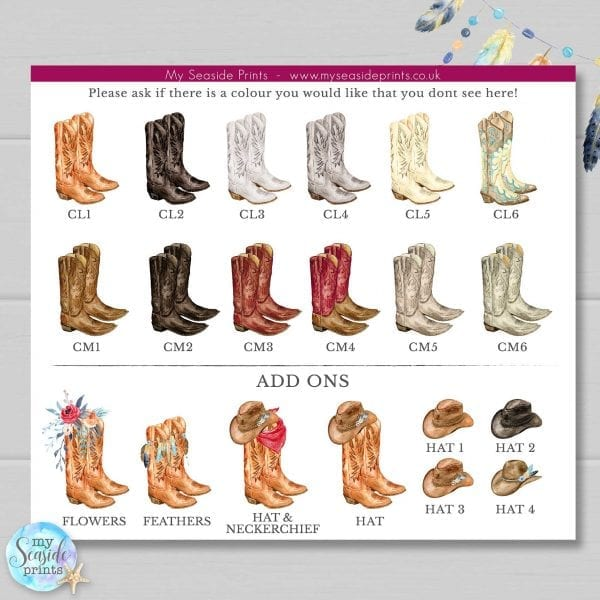 cowboy boots print colour options for country music lovers gift