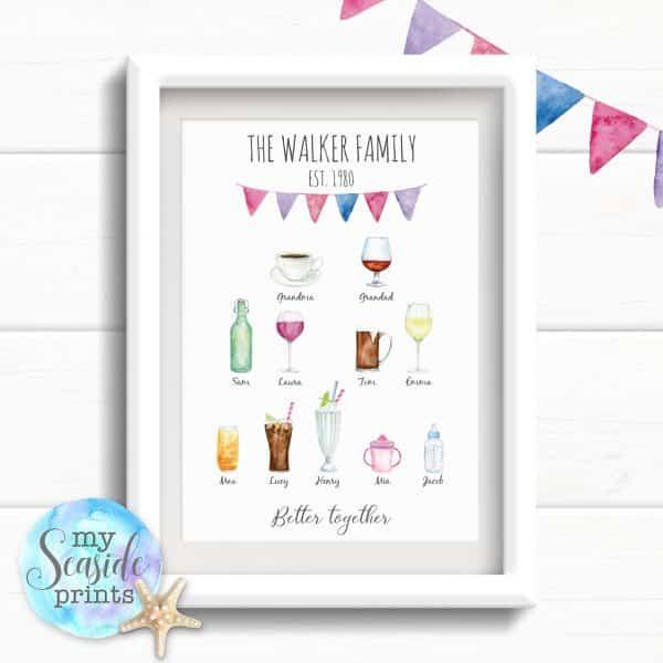 Personalised Family Tree Drinks Print