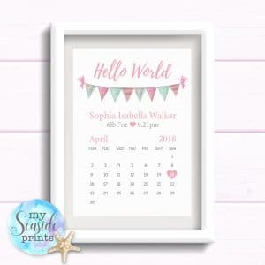 Personalised Girls Nursery or New Baby Print - Hello World calendar