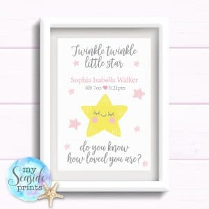 twinkle twinkle little star do you know how loved you are personalised girls nursery print