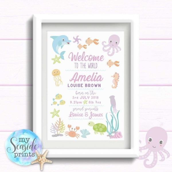 girls nursery or new baby girl print for gift under the sea theme seahorse dolphin